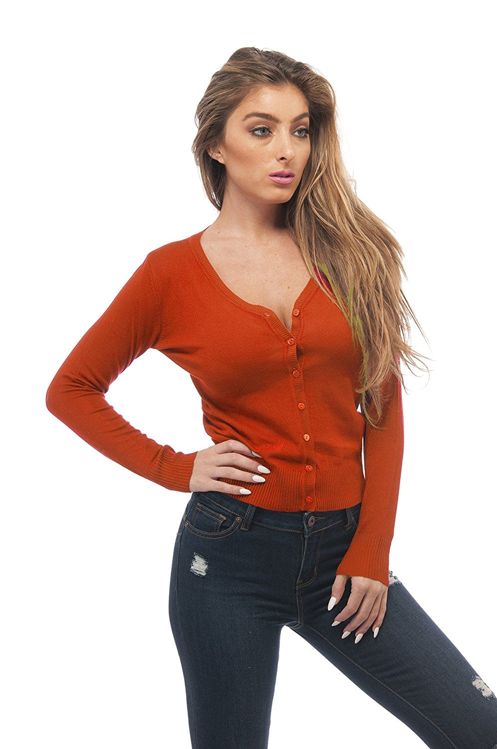 Hollywood Star Fashion Sexy Cardigan Sweater Knit V Neck Long Sleeves Plus Size