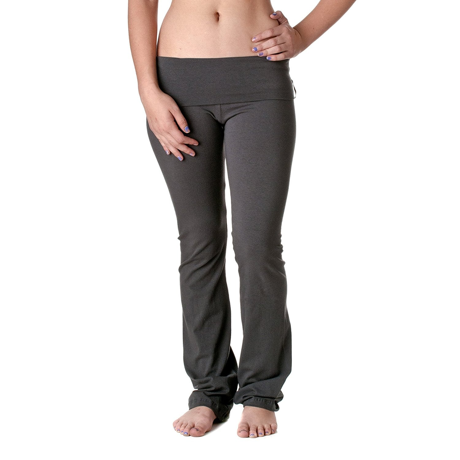 Hollywood Star Fashion Women's Slimming Foldover Bootleg Flare Yoga Pants