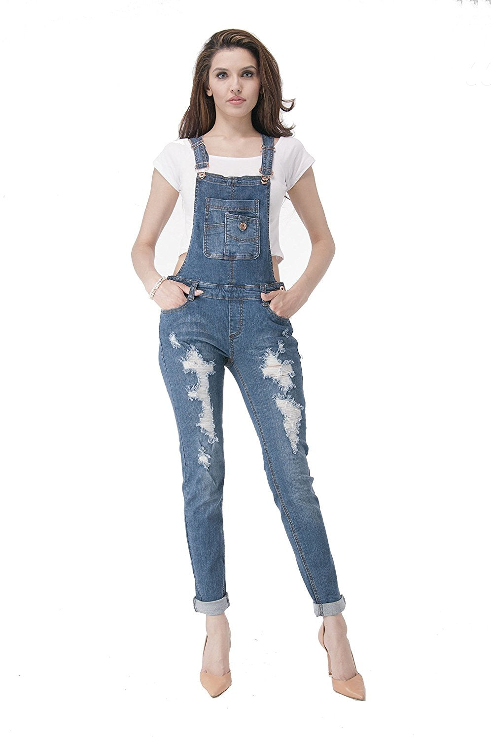 Hollywood Star Fashion Dark Blue Destroyed Overalls