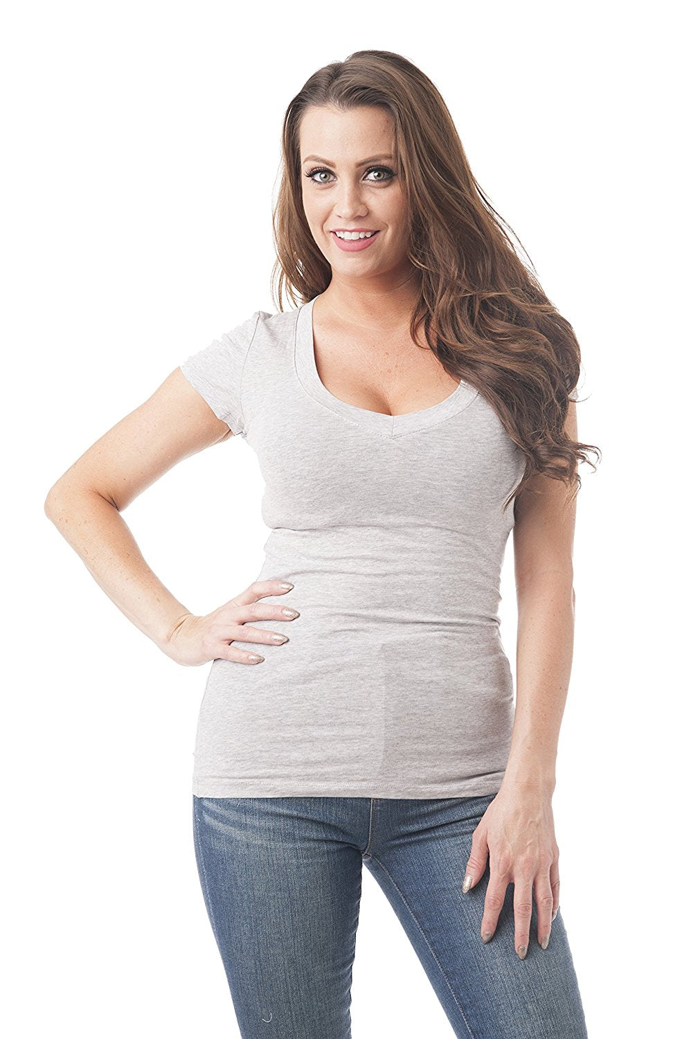 Short Sleeve V-neck Tee Top Shirt Cotton Regular and Plus Size