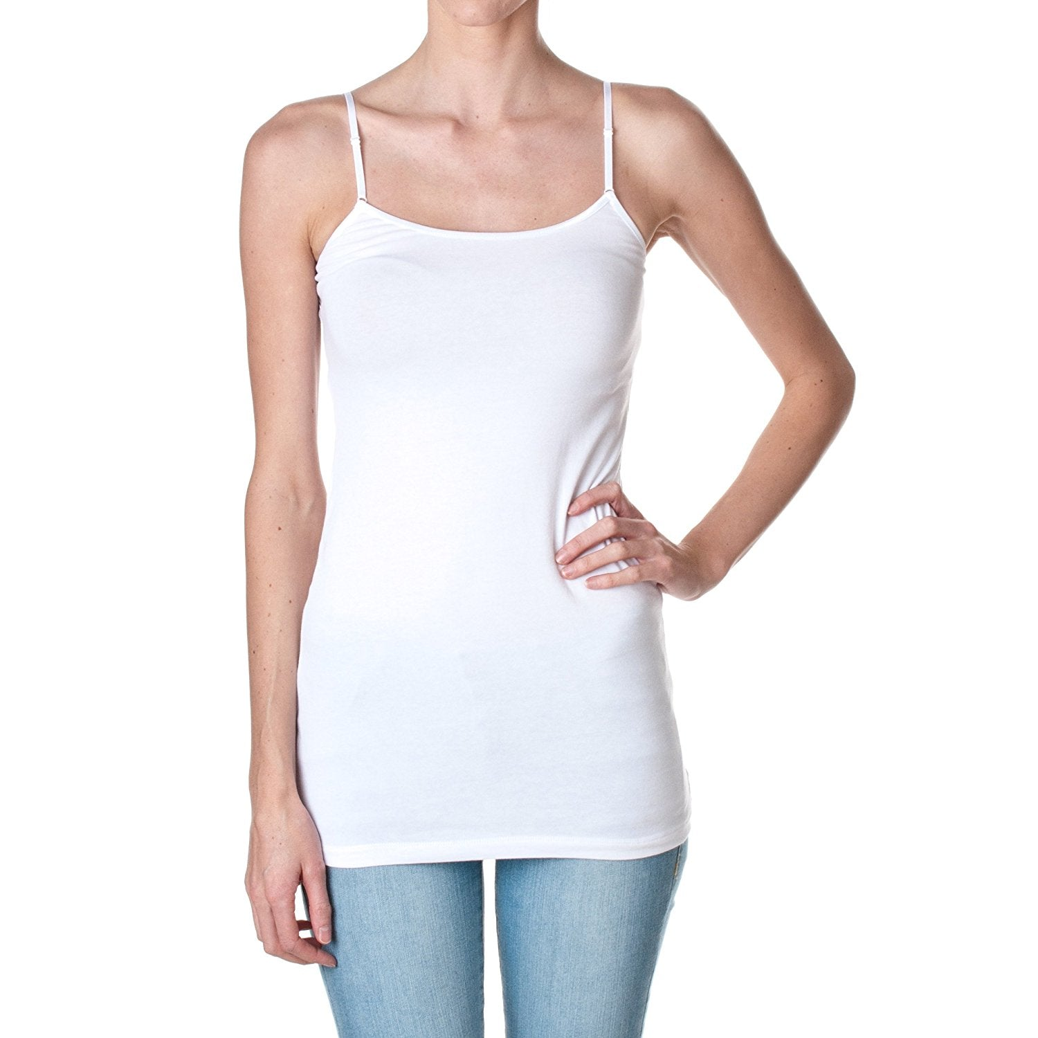 Active USA Plain Long Spaghetti Strap Tank Top Camis Basic Camisole Cotton
