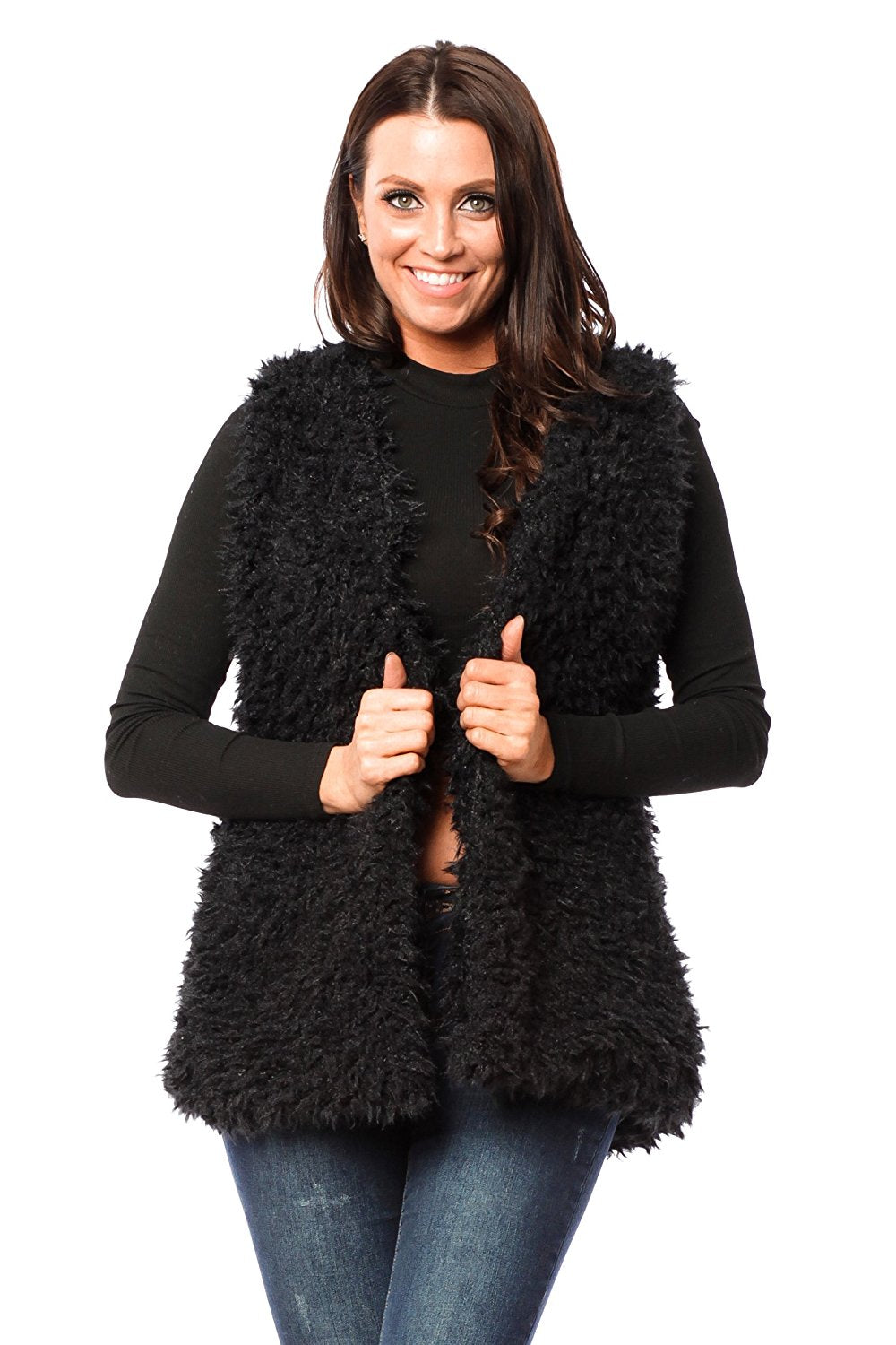 Hollywood Star Fashion Sleeveless Faux Fur Coat Vest