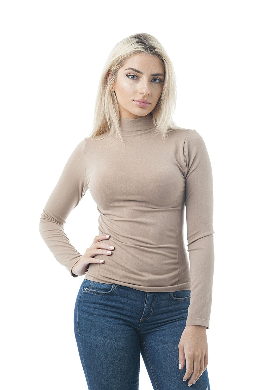Khanomak Women's Long Sleeve Mock High Neck Plain One Size Fahsin Top Shirt One Size