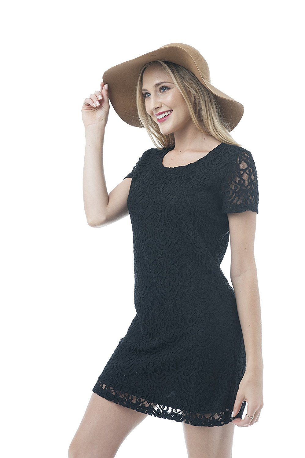 Short Sleeve Scoop Neck Lace Shift Mini Dress