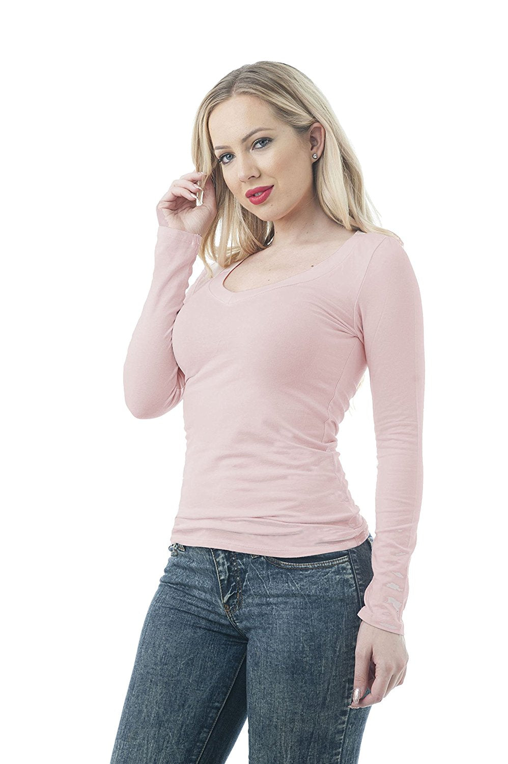 Hollywood Star Fashion Womens Long Sleeve V Neck Top