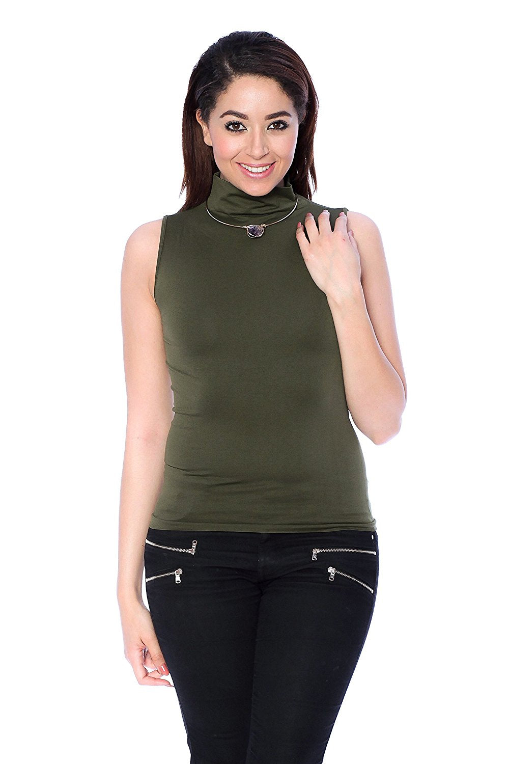 Khanomak High Mock Neck Sleeveless Plain Solid Basic Stretch One Size Tank Top