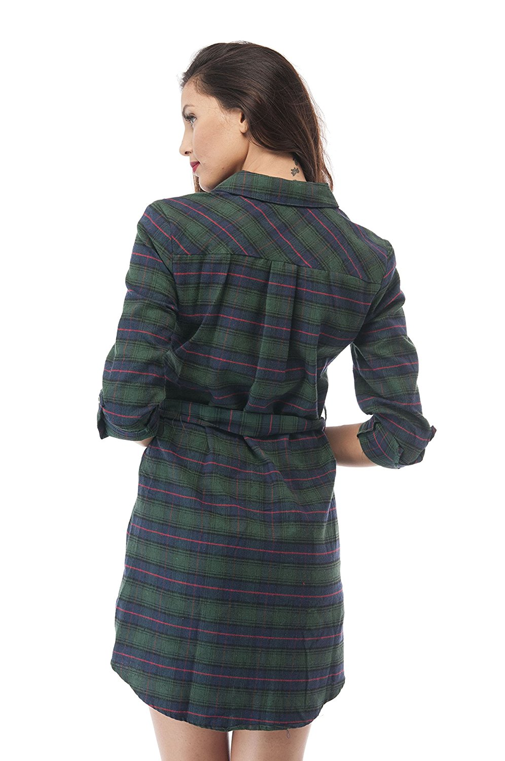 Plaid Flannel Long Shirt Sleeve Dress With Belt
