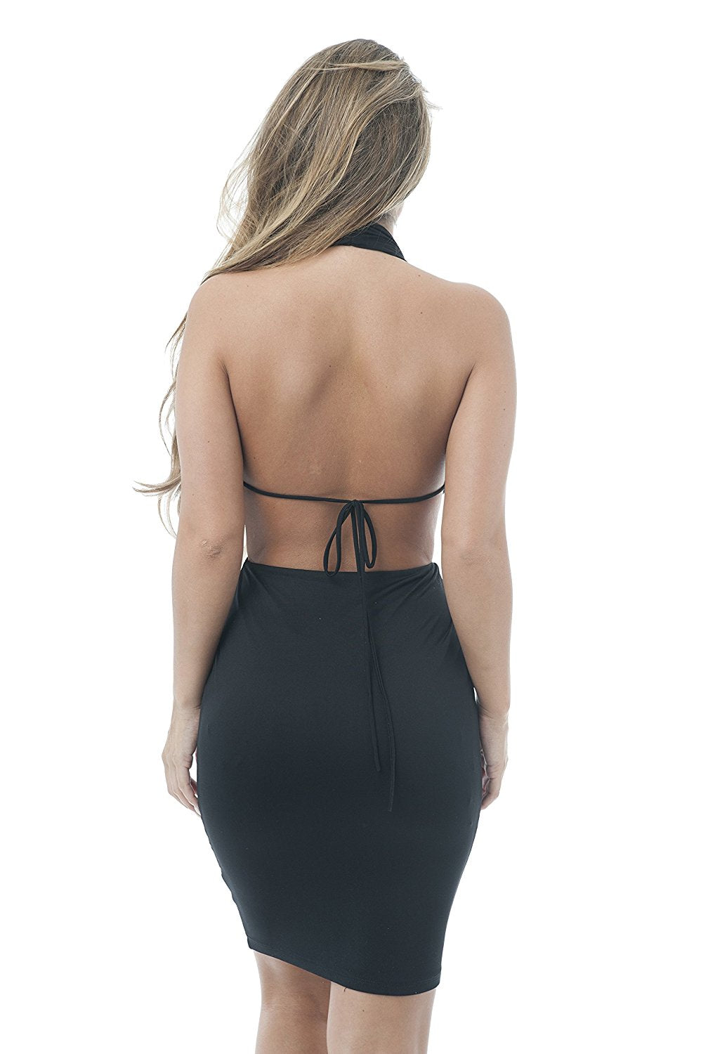 Sleeveless Back Open Haulter Neck Dress