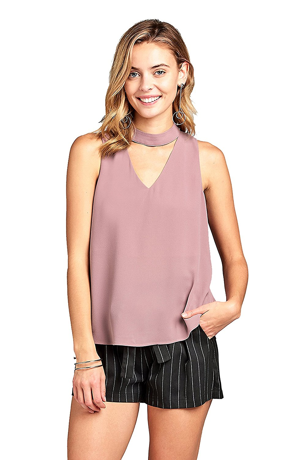 Khanomak Sleeveless Double V Neck With Choker Semi Sheer Crepe Chiffon Top