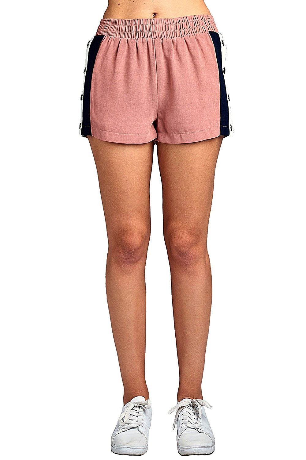 Khanomak Elastic Waist Snap-On With Side Contrast Button Tearaway Light Weight Shorts