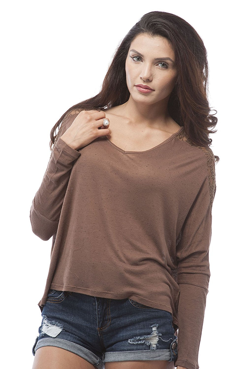Long Sleeve Batwing V Neck Lace Trim Top