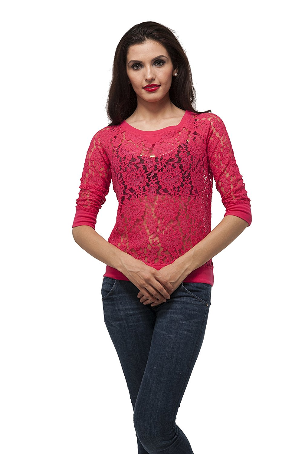 Half sleeve crochet laced top Sweater Shirt