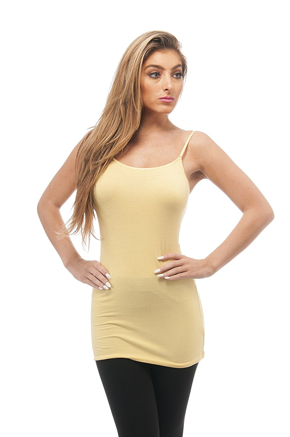 Hollywood Star Fashion Plain Long Spaghetti Strap Tank Top