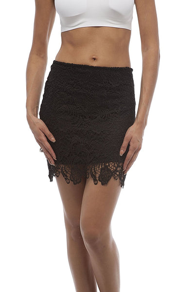 Crochet Lace Midi Skirt With Side Zipper