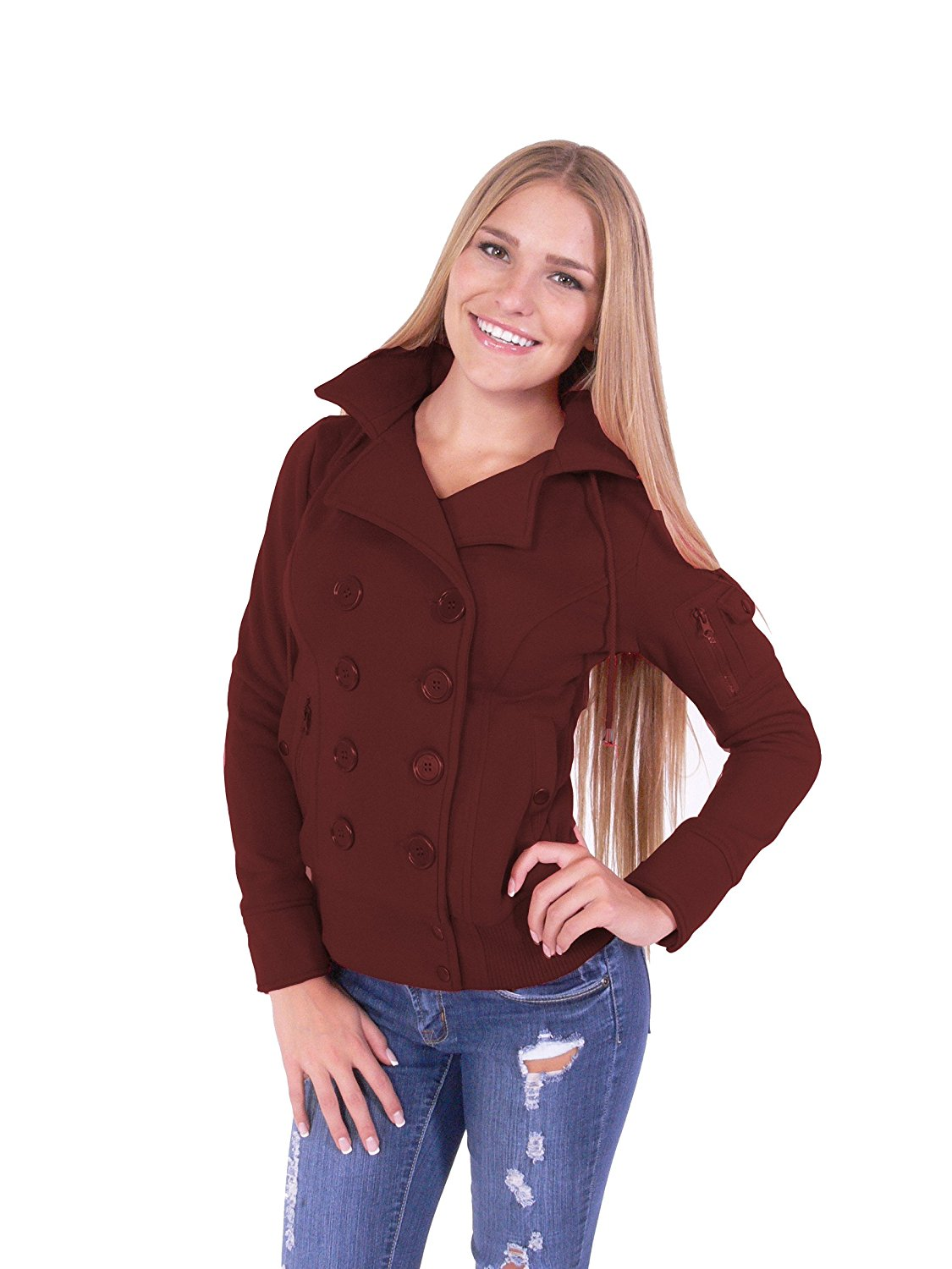 Hollywood Star Fashion Women's Double Breast Four Buttons Hooded Bomber Coat