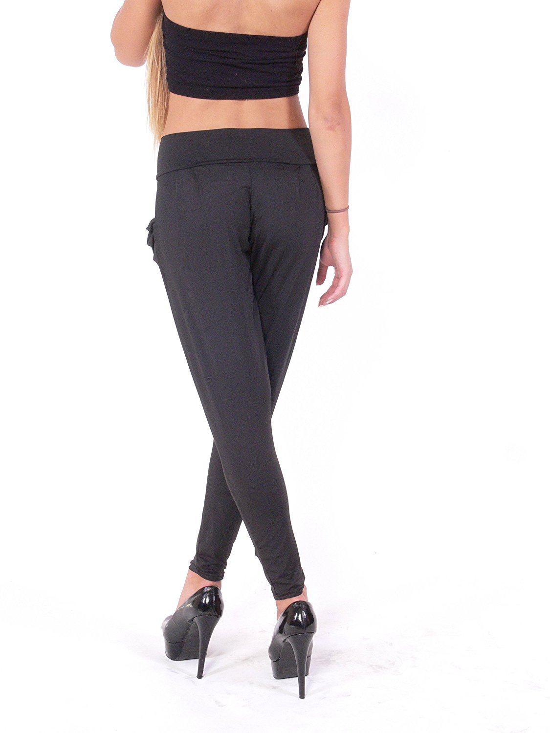 Aladdin Aladina Pants with Pockets Jersey Full Length Legging (M/L, Black)
