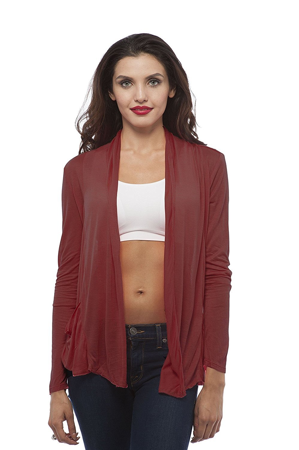 Hollywood Star Fashion Women's Drape Pockets Light Weight Flyaway Cardigan Shawl