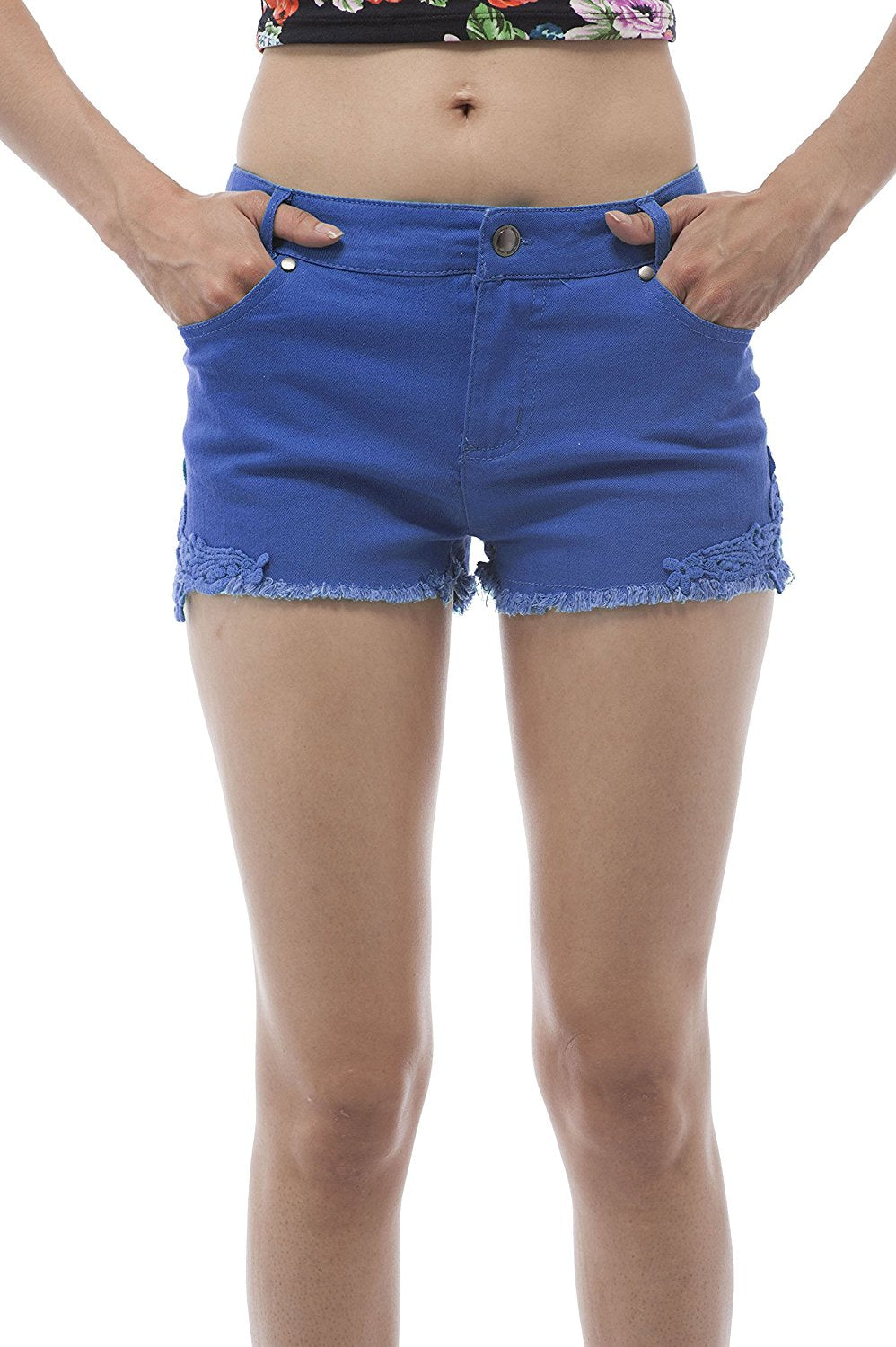 Hollywood Star Fashion Cotton Twill Mini Short Shorts With Lace Patch On The Sides