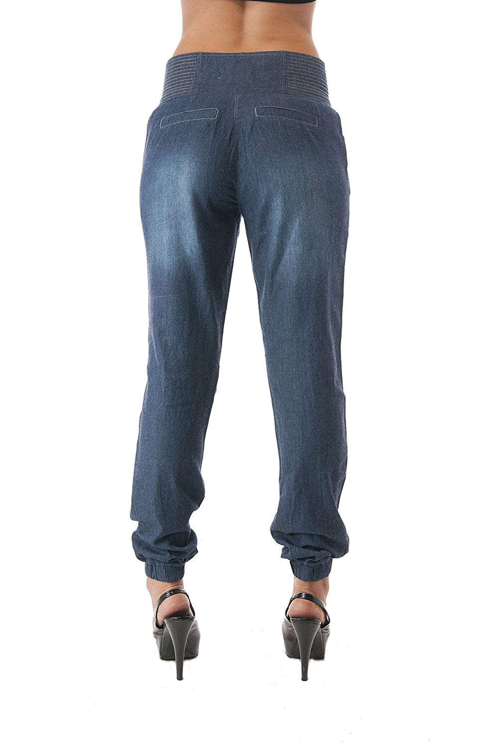 Front Zipper Elastic Waist Chambray Pants