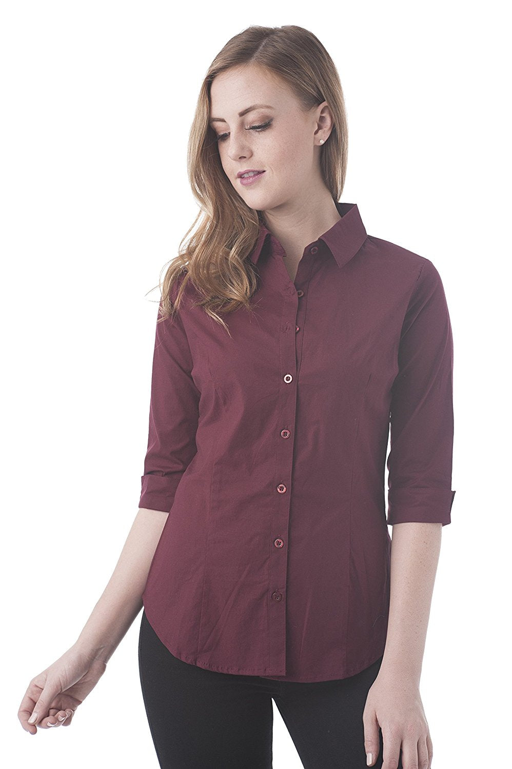 Khanomak 3/4 Sleeve Stretch Button Down Collar Shirts