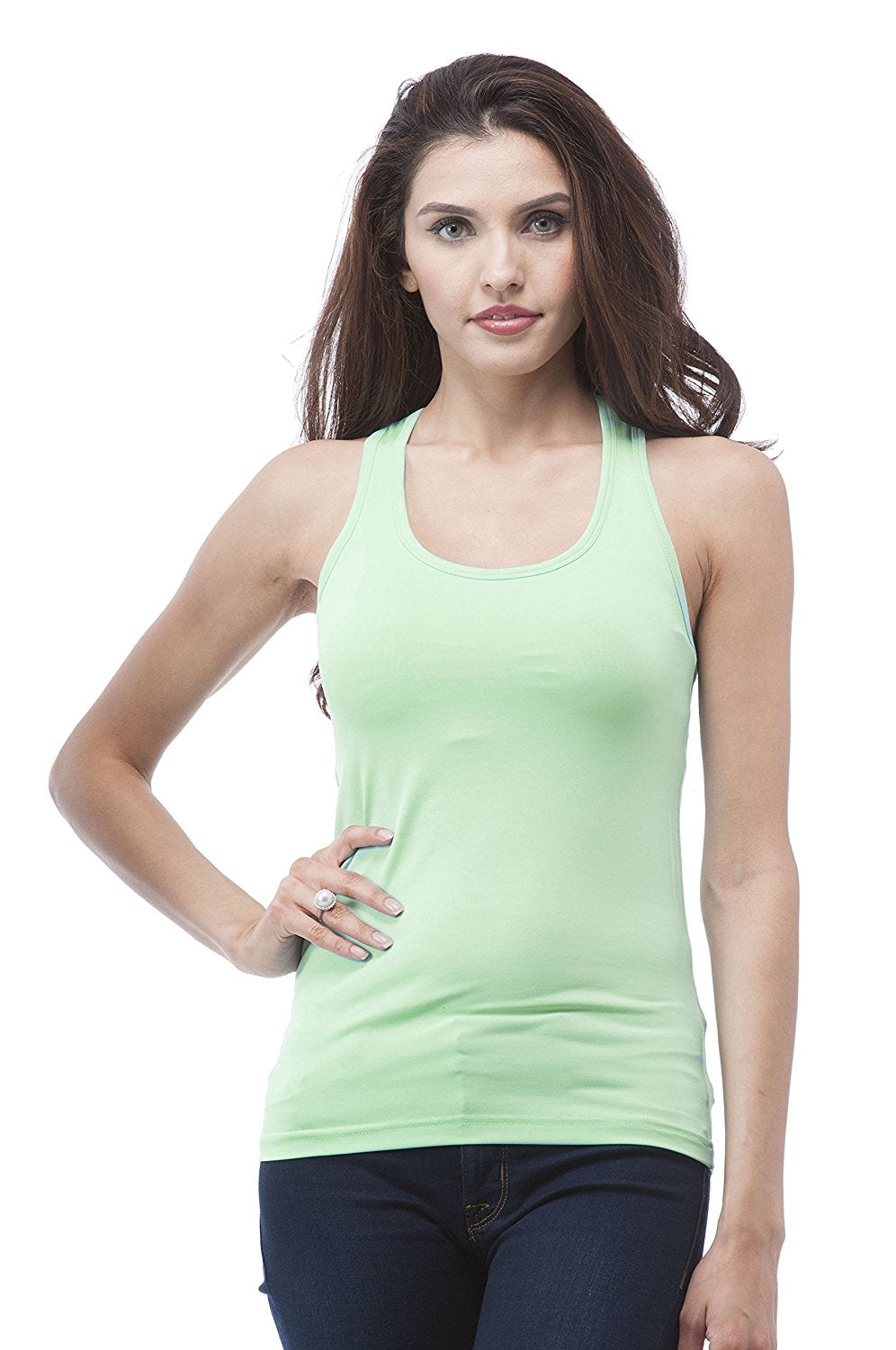 Hollywood Star Fashion Racer Back Work Out Tank Top with Bra Pad