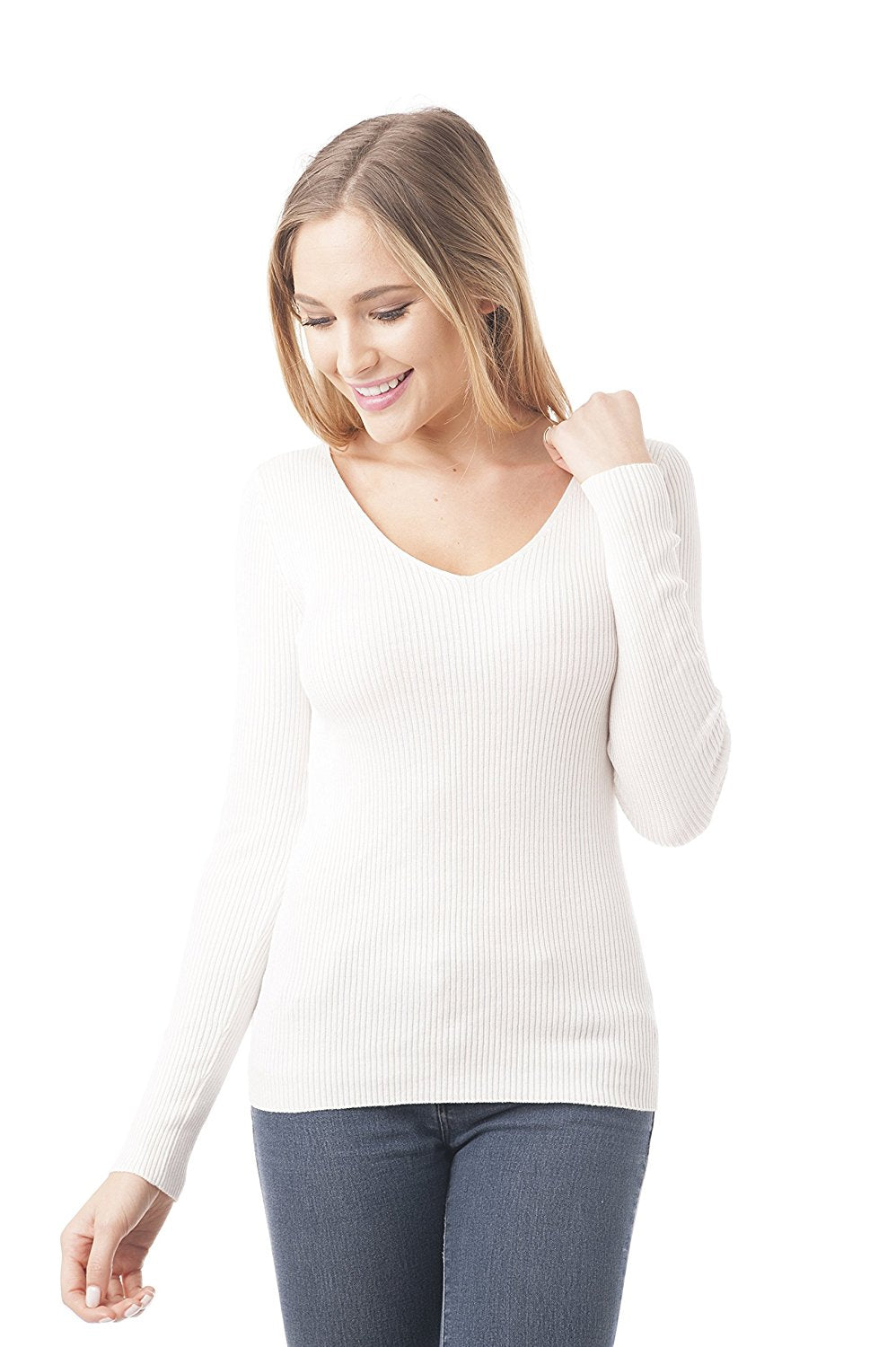 Khanomak Long Sleeve V Neck Ribbed Sweater