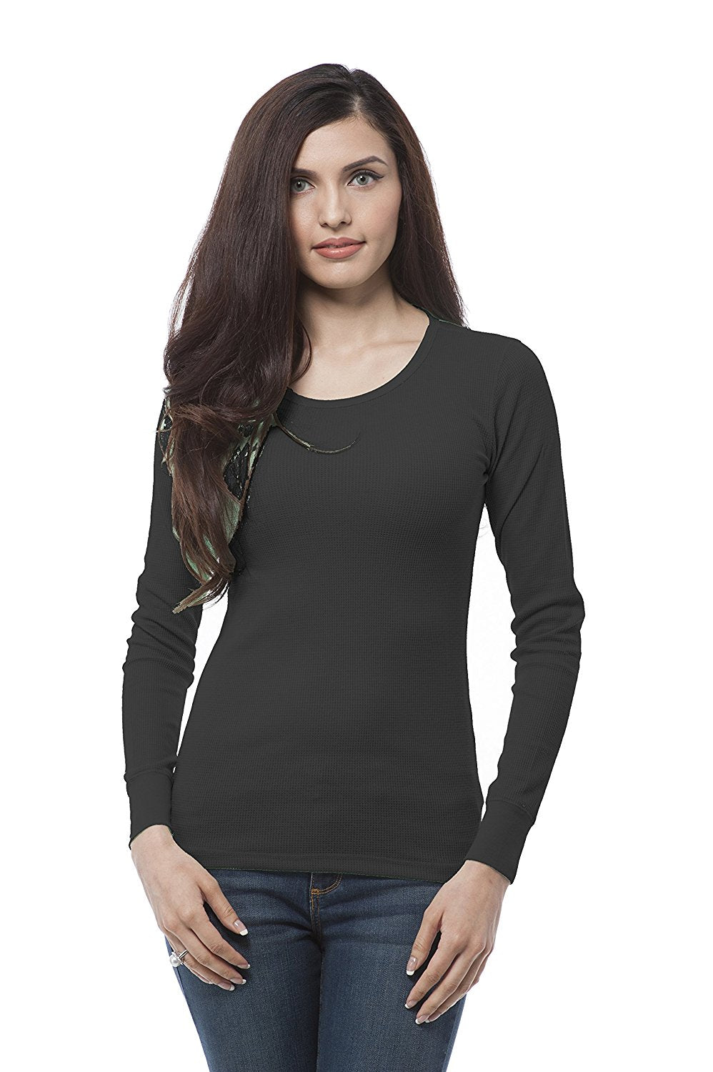 Hollywood Star Fashion Plain Crewneck Long Sleeve Thermal Shirt Top