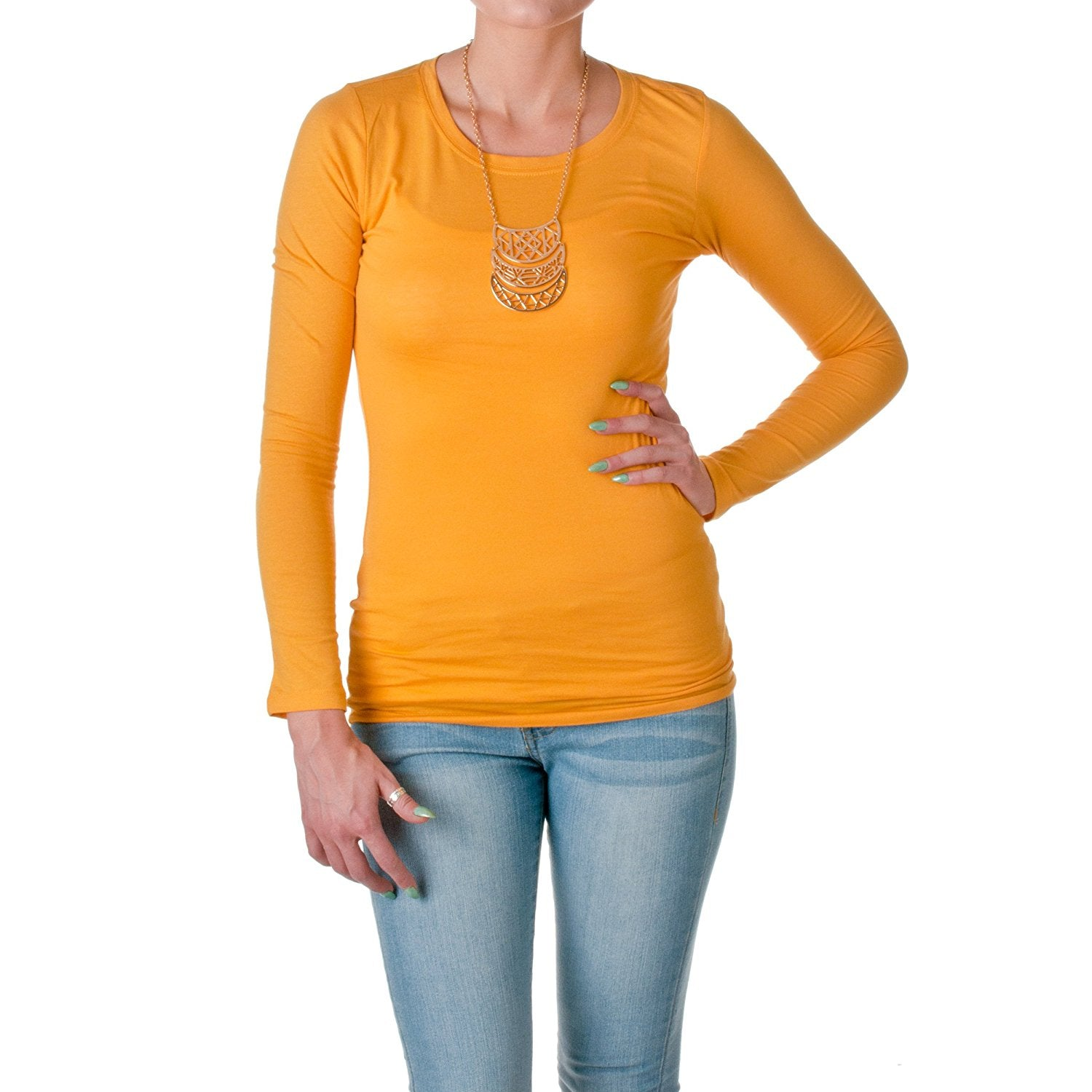 Hollywood Star Fashion Women's Long Sleeve Crewneck Cotton Top