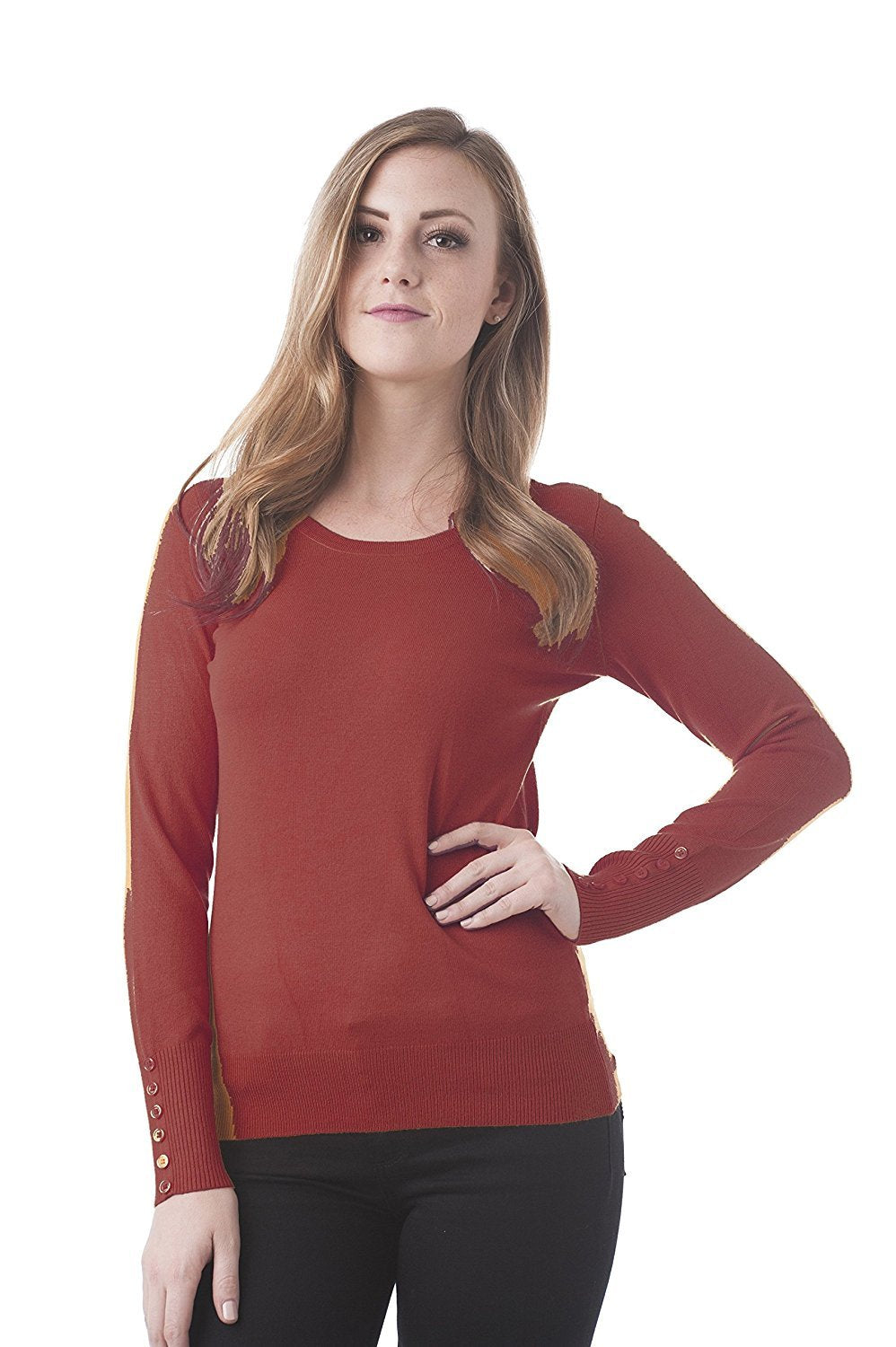 Khanomak Long Sleeve Crewneck Knit Sweater Top With Button On The Sleeves