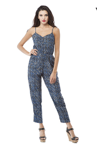 Hollywood Star Fashion Adjustable Spaghetti Strap Printed Jumpsuit