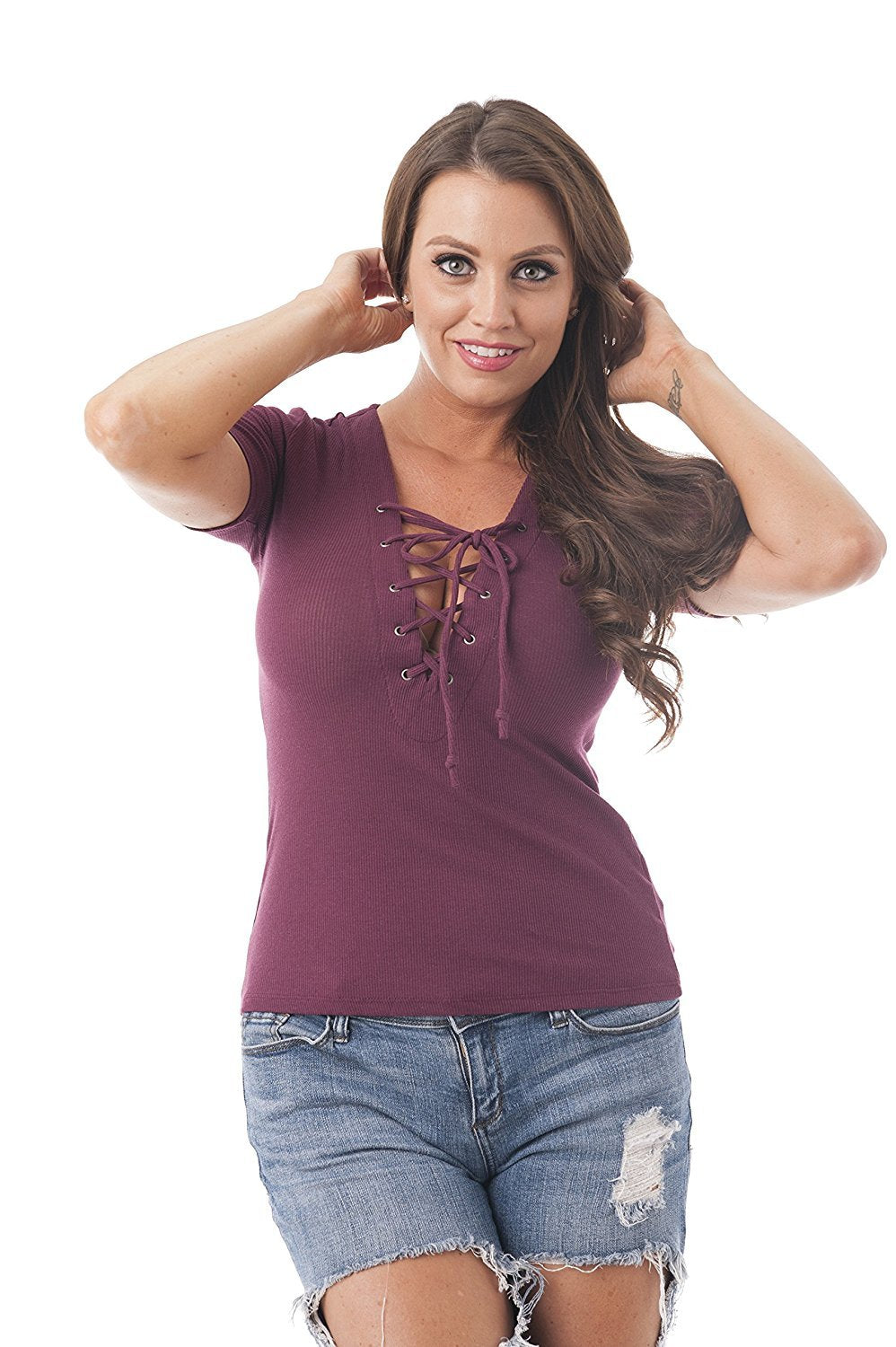 Khanomak Short Sleeve Ribbed Lace Up Knit Top