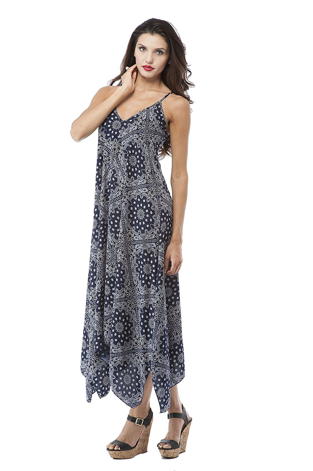 Paisley Print Spaghetti Strap Dress