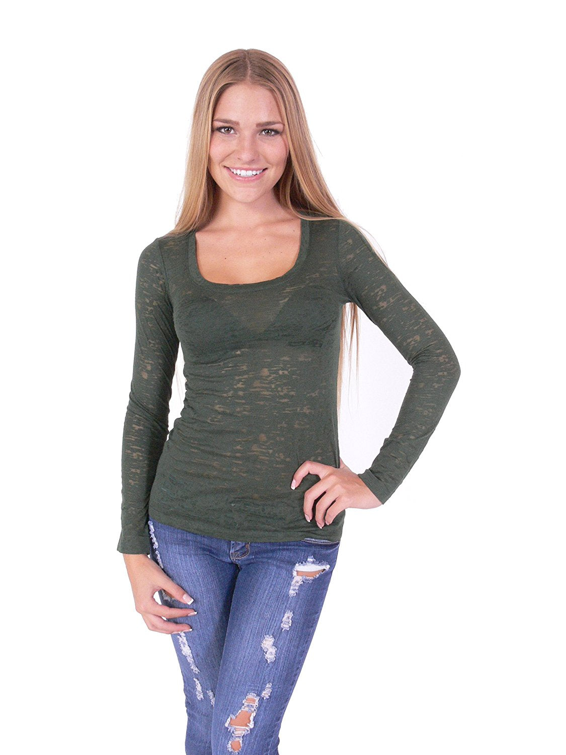 Hollywood Star Fashion Women's Long Sleeve Scoop Neck Burnout Tank Top Shirt
