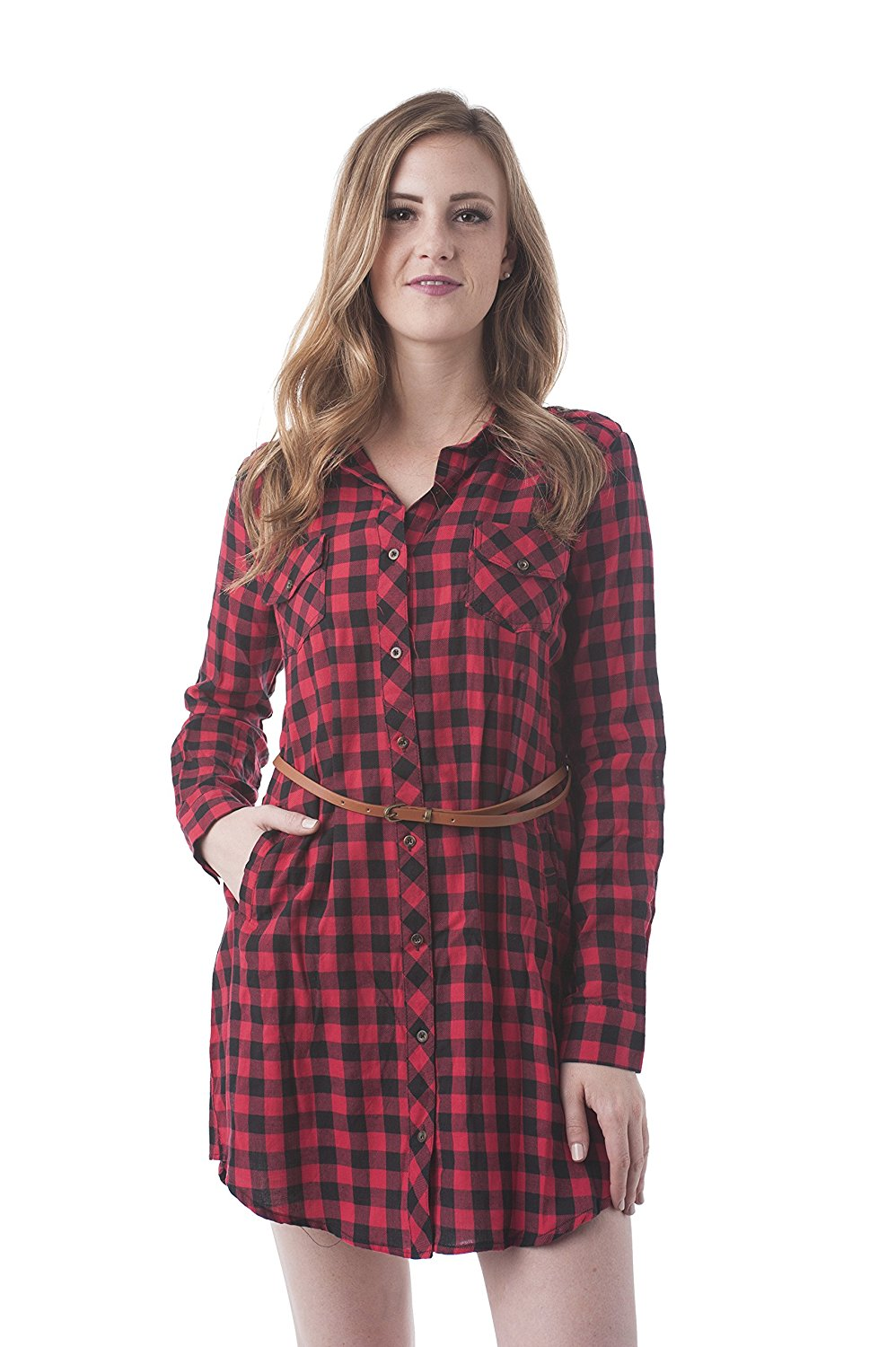 Khanomak Long Sleeve Belted Checkered Shirt Dress
