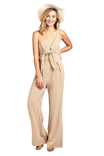 Khanomak Sleeveless Cami Adjustable Straps Scoop Neckline Knotted Front Wide Leg Jumpsuit