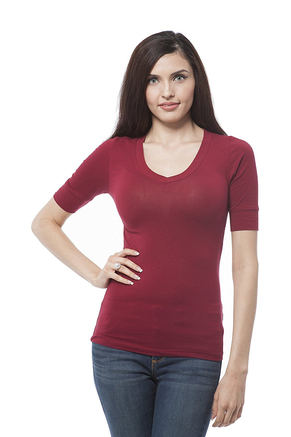 Hollywood Star Fashion Women's Plain Basic Elbow Length Sleeves V Neck Top Fitted Shirt