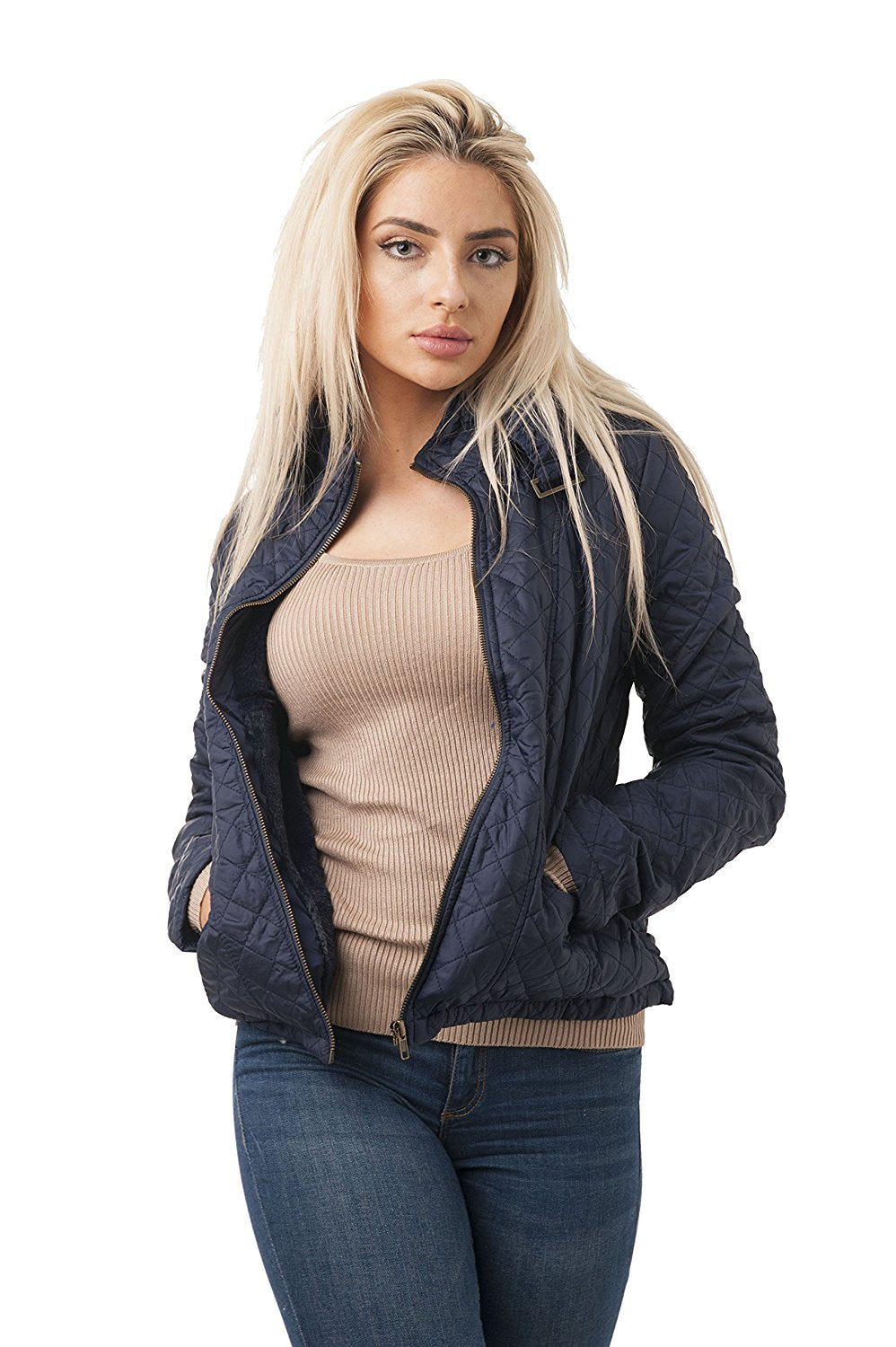 Khanomak Long Sleeve Quilted Hood Jacket With Faux Fur Lining