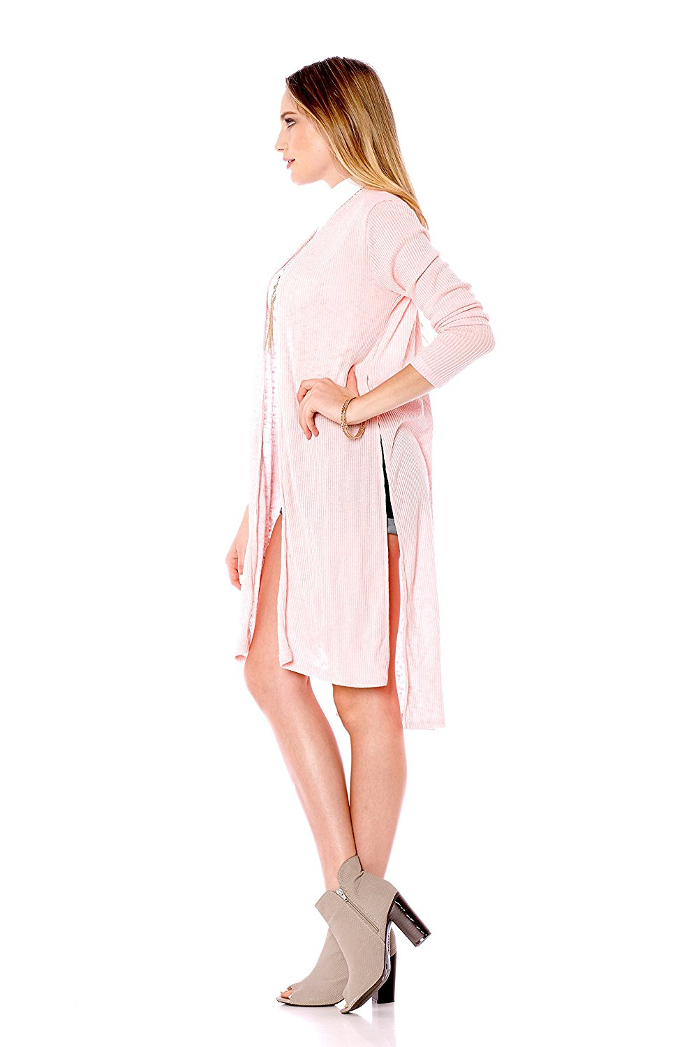 Khanomak Long Sleeve Maxi Slit Side Cardigan Duster