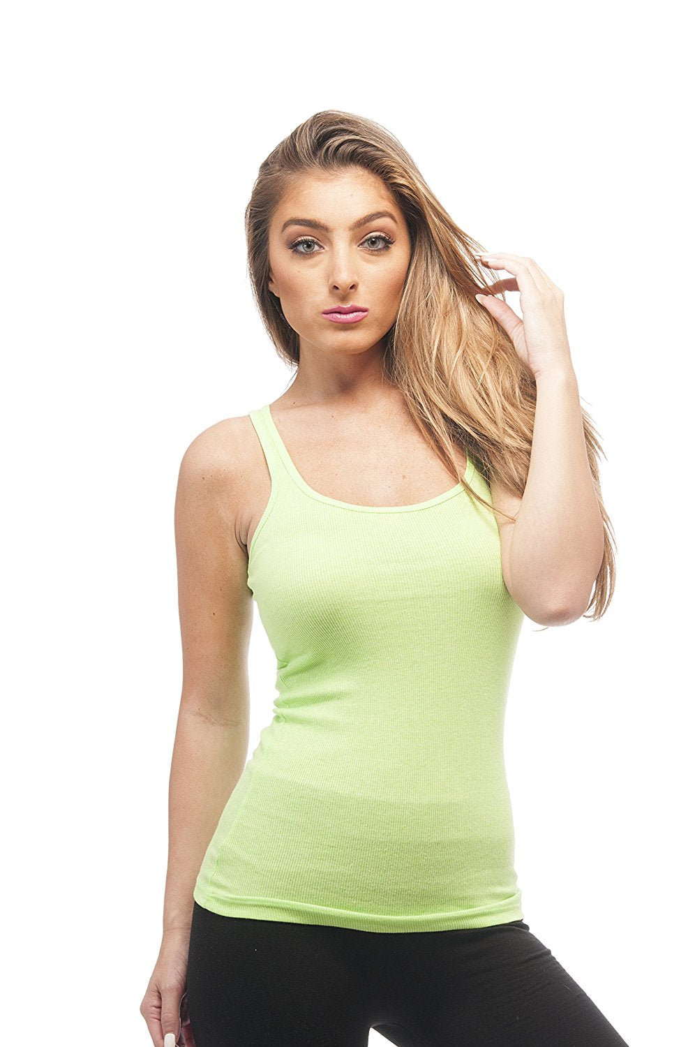 Hollywood Star Fashion Long Ribbed Rib Racerback Tank Top