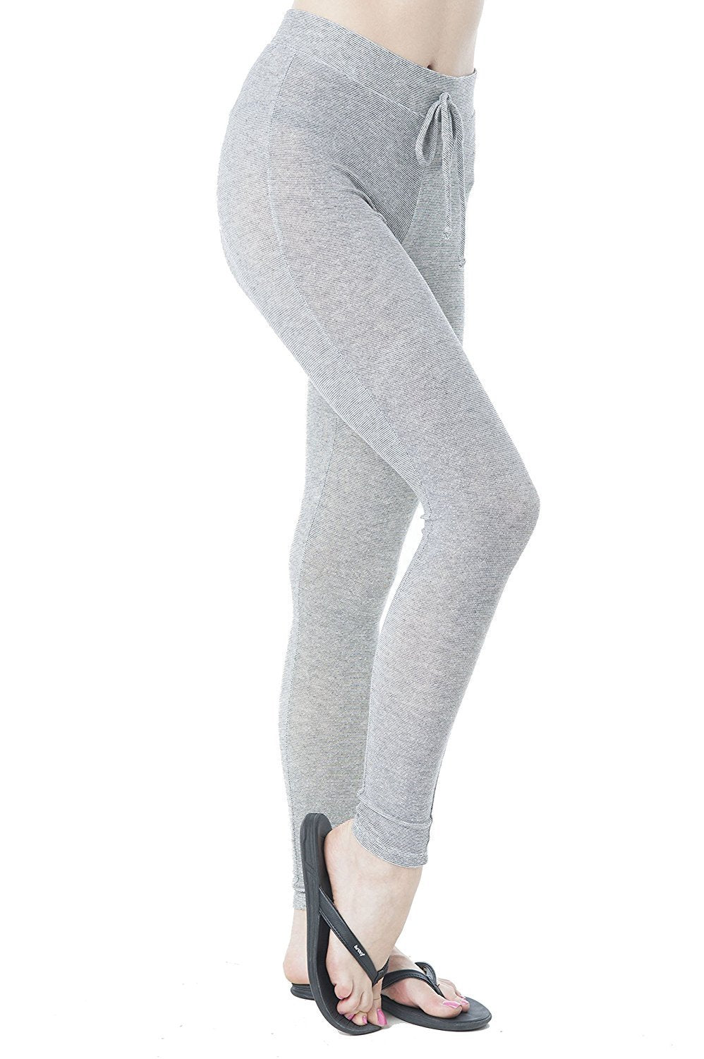 Khanomak Drawstring Spandex Stretchy Fitted Long Pants With Knee Slits Leggings