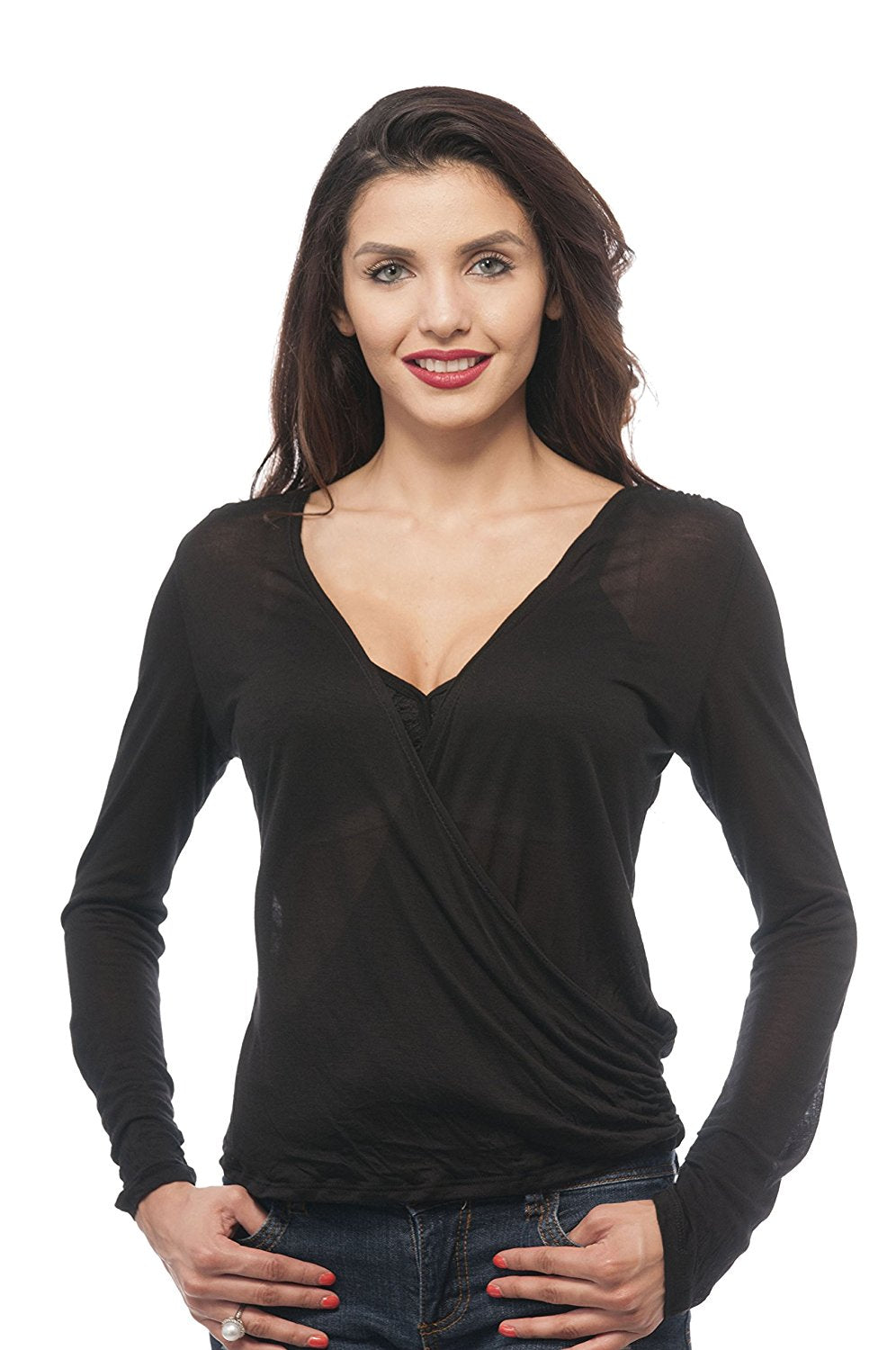 Hollywood Star Fashion Long Sleeve Wrap Deep V Open Top