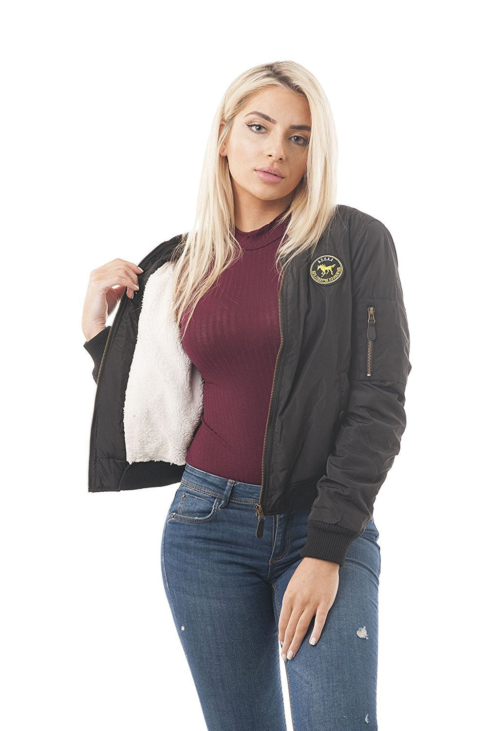 fur Lining Bomber Jacket with Patches