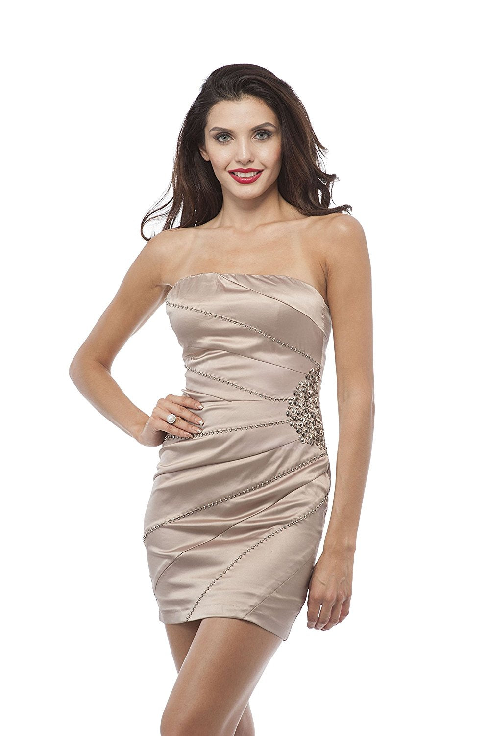 Hollywood Star Fashion Strapless cocktail Mini Dress with sequin detail