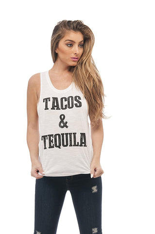 Hollywood Star Fashion Sleeveless Tank Top Graphic Tees Tacos & Tequila