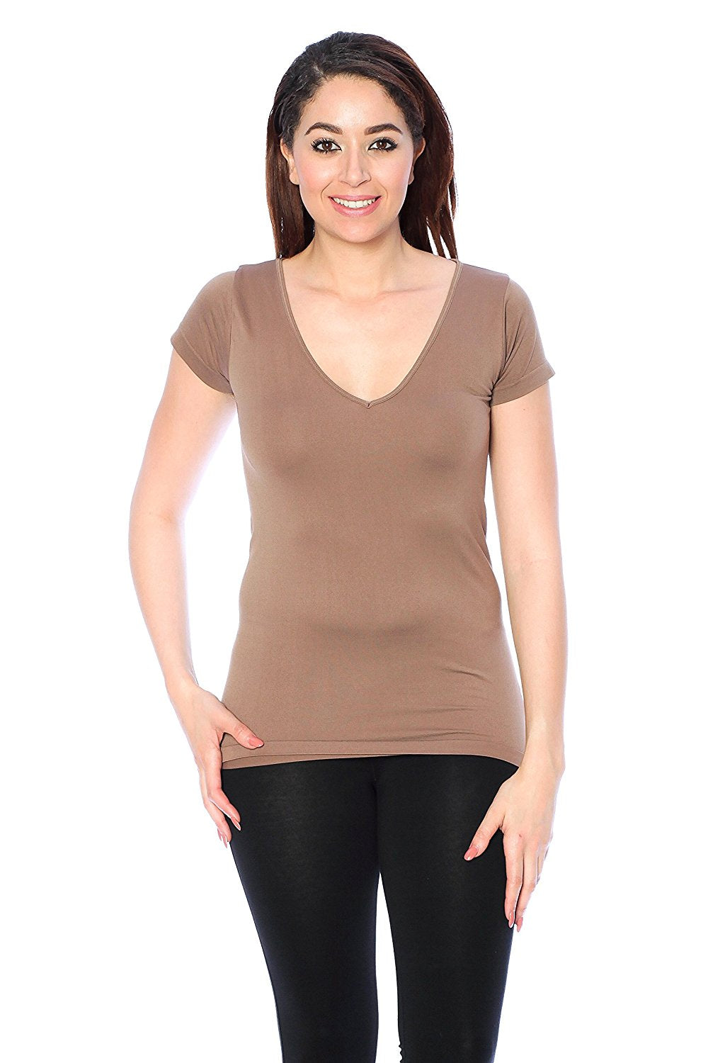 Short Sleeve V Nack Plain One Size Top