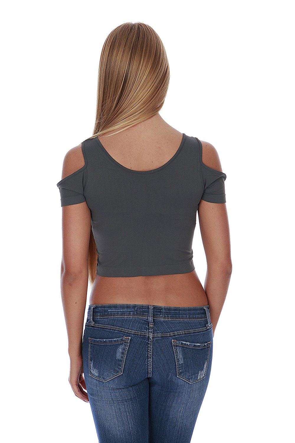 Hollywood Star Fashion Women's Cut-Out Shoulder Crop Top Tank Seamless Shirt