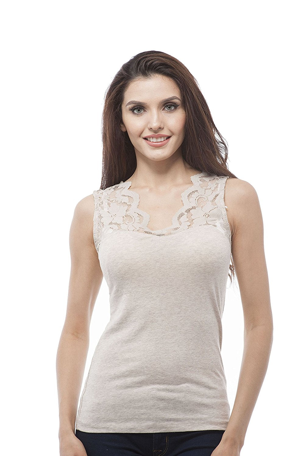 Hollywood Star Fashion V Neck Sleeveless Top With Lace Insert On Sleeves