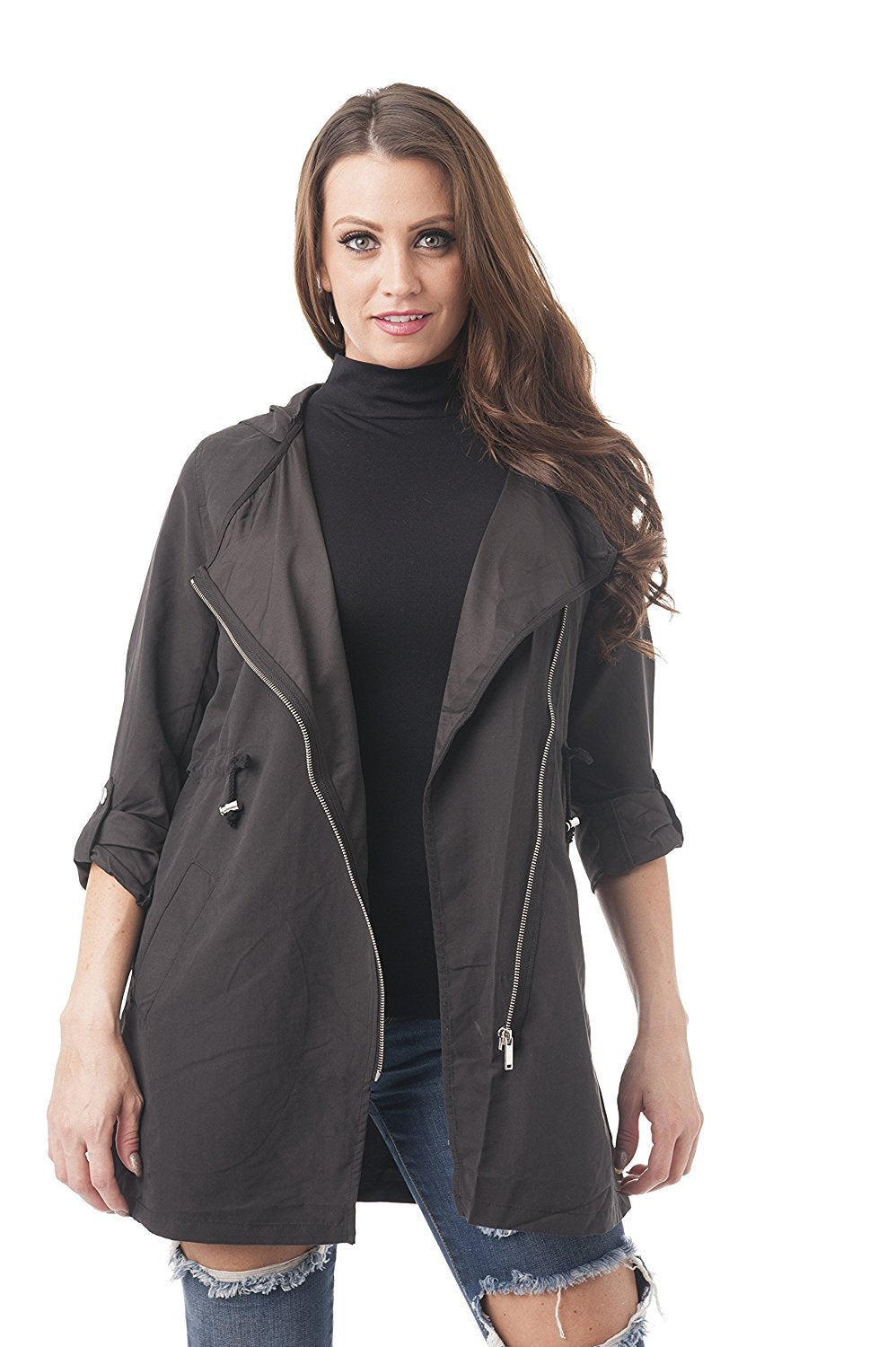 Khanomak Asymmetrical Utility Jacket With Hoodie and Drawstring Front