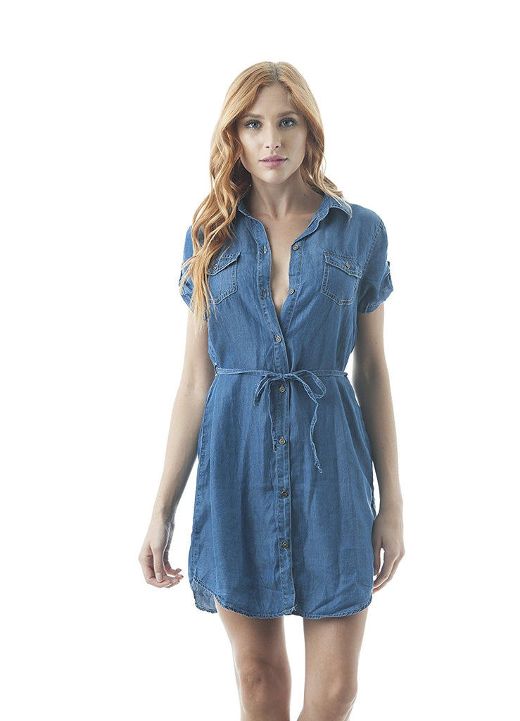 Button Down Chambray Self-Tie Belt Short Sleeve Basic Collar Dress