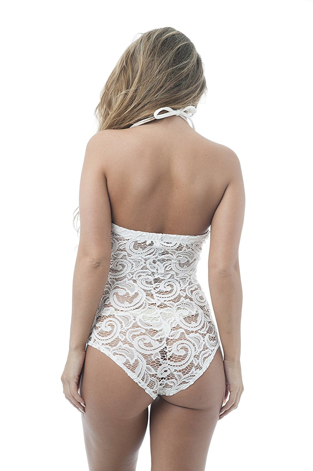 Khanomak Self Tie Lace Crochet Body Suit